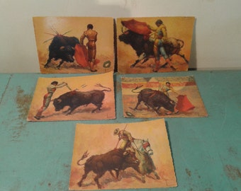 Vintage Color Postcards Lot of 5 BULL FIGHTING Spain  Art by Fonograf  S.L Madrid 1959, Typical art Spanish ,  postcards taurine,