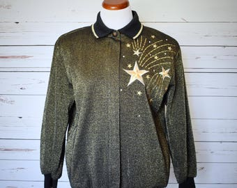 1990s Gold Shooting Star Track Jacket Bomber Style Shoulder Pads Womens Vintage Medium