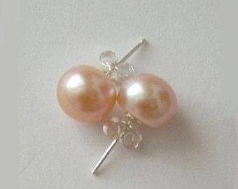 8.5 mm AAA Genuine Pink pearl earring studs, Pink pearl earrings, Bridesmaid earring, Real pink pearl earrings, Bridesmaids earrings