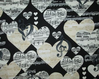 Music Hearts Notes White Cream Black Cotton Fabric Fat Quarter or Custom Listing