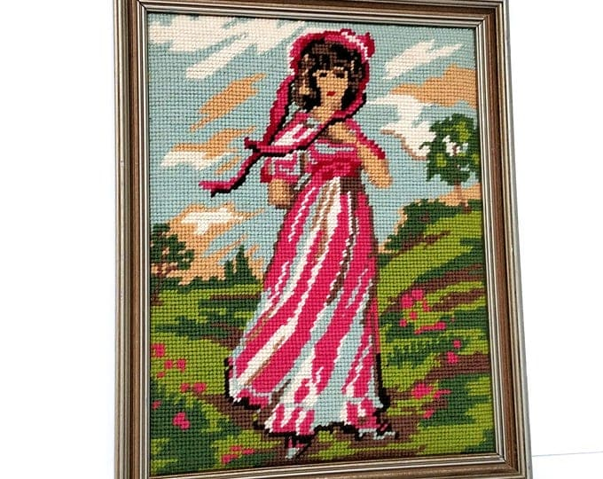 Vintage Framed Needlework with Jane Austen Looking Girl in Pink Dress and Hat