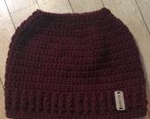 Crochet Messy Bun Hat, Messy Bun Hat, Messy Man Bun Hat, Pony Tail Hat, Pony Tail Beanie