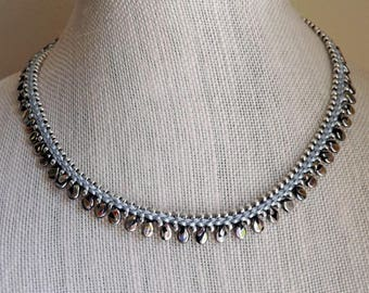 Black and Silver Flat Kumihimo Necklace  Silver and Black beaded Necklace Handcrafted necklace