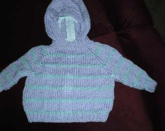 Back zip hooded hooded baby sweater