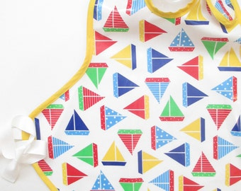 Art Smock in Tossed Sailboats--Size 6 and Up--CPSIA Compliant--Ready to Ship