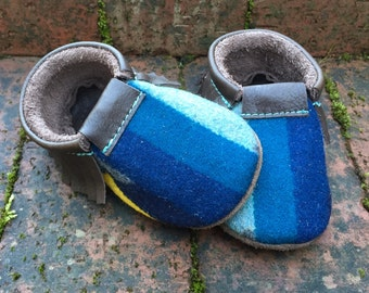 SALE // Scout Baby Moccasin 12-18 month // Blues Gray Pendleton Wool Brown Leather // Rosebud Originals