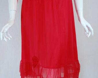 1950s Mojud Red Half Slip, medium, large, rose appliques