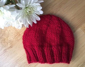 Newborn Baby Boy Baby Girl Hat, Soft, Machine Washable, Bright Red Baby Hat, Photo Prop, February, Valentine's Day Gift