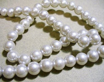 Glass Pearls Light Silver 8mm