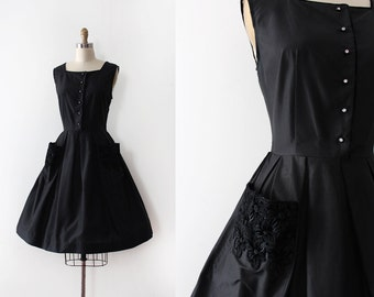vintage 1950s dress // 50s black cotton floral dress