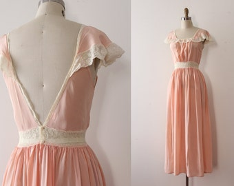 vintage 1930s gown // 30s peachy lingerie slip gown