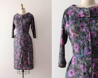 vintage 1960s dress // 60s floral fitted button up dress