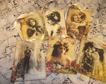 Vintage Shabby Gift Tags Of  Ladies Roses  And Couples  Adorned With  Cream  Lace Ribbon