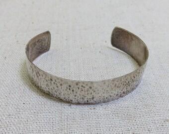 Vintage Sterling Silver Hand Hammered Cuff Bracelet
