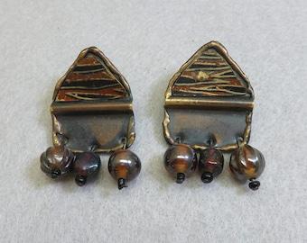 1980s Ethnic Dangle Pierced Earrings, Brass and Glass Pierced Earrings