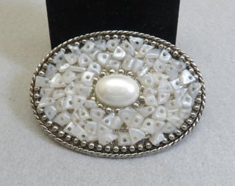 Jeweled Western Belt Buckle, Faux Pearl and Pearl Chips Buckle, Feminine Buckle