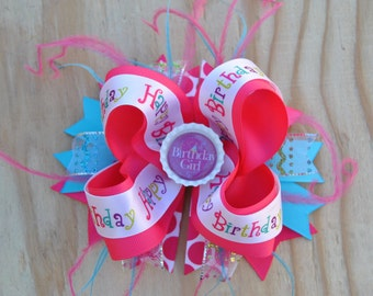 Birthday Hair Bow, Over the Top Bottle cap Boutique Bow,  Hot Pink Birthday hair bow, Big Birthday bow, Non slip bow, Girls birthday bow,