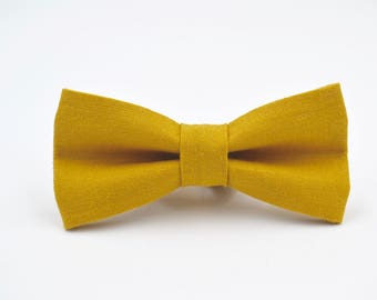 Mens Bowtie in Mustard Yellow Linen- Gold Bowtie- Enough in Stock for Your Entire Wedding Party, Adjustable Bow Tie, Pre-Tied Bow Tie