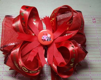 """6"""" Valentines Day Stacked Boutique Bow"""