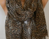 Brown Tones Leopard  Scarf,Shawl,Women Fashion Accessories,Christmas gift