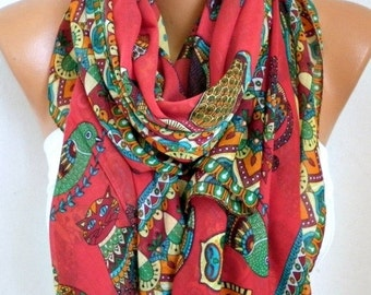 ON SALE --- Red Owl,Bird,Cat Cotton Soft Scarf, Summer Scarf,Pareo, Oversized Scarf, Cowl Scarf, Shawl, Gift Ideas For Her, Women Fashion Ac