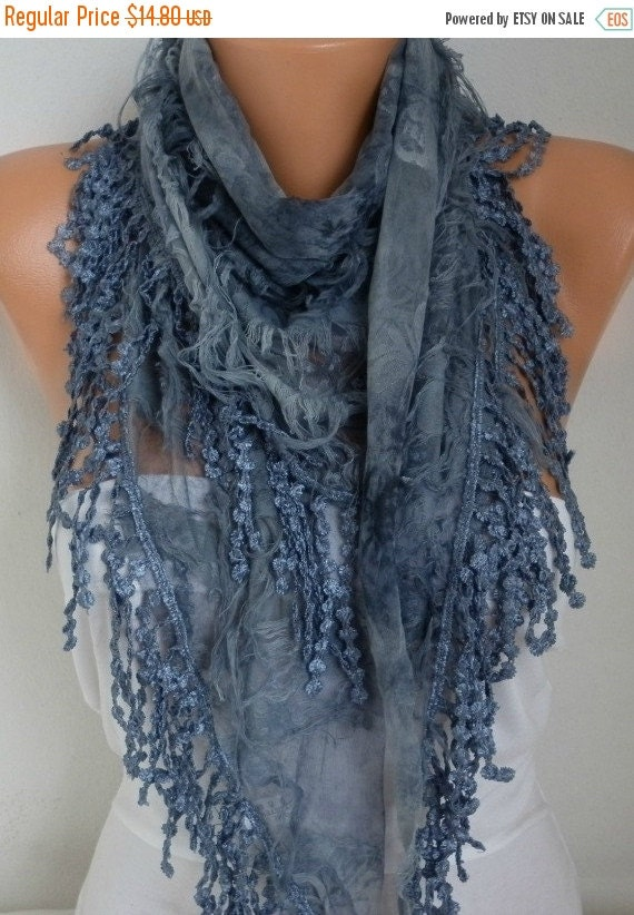 ON SALE --- Gray Printed Scarf,  Teacher Gift, Fall Winter Shawl Scarf, Cowl Gift Ideas for Her,Women Fashion Accessories best selling items