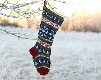 Fair Isle Stocking Knitted Personalized with Snowflakes (made to order) Holiday Xmas Christmas Stocking Custom Knitted