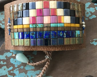 Multi color beaded leather Cuff bracelet - Summit #1 - colorful rustic fringe tassel friendship bracelet boho by slashKnots
