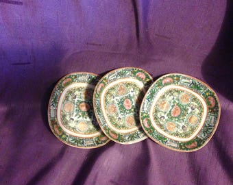 3 Antique Chinese Export Famille Rose tiny plates Rose Medallion plate - At Everything Vintage Shipping is on Us!