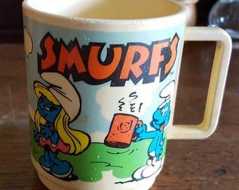 Vintage 1980 Smurf Cup -