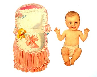 "Vintage Paper Baby Doll ""Sue"" with Clothing, 34 pieces (c.1940s) - Doll Ephemera, Collectible Doll, Paper Projects"