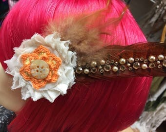 Orange and Beige Crochet Flower Hair Clip Facinator with Flowers and Feathers