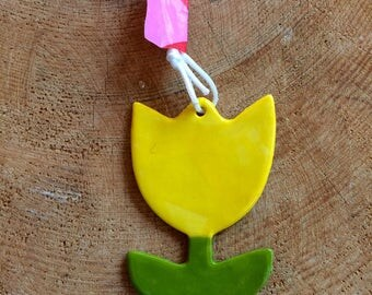 Yellow Tulip /Flower/Hanging Ceramic Tulip/Ceramic Decoration/ornament.Mothers Day/Easter gift.Porcelain ornament/Made in Wales,Uk