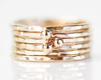 Stacking Rings / Nugget Stacking / Gold Stacking Rings / Gold Rings / 3 Nugget 3 Stacking / Gift for Her / Boho Chic / Gold Stacking