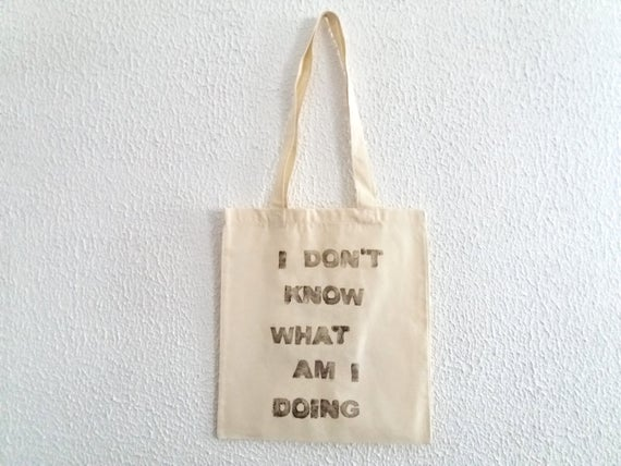 Hand Stamped Tote Bag / Fun Canvas Shopper / Cool Tote Bag /