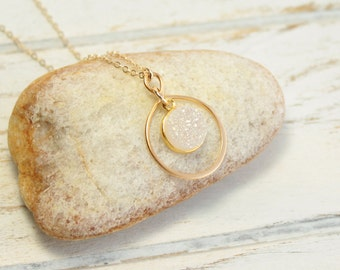 Gold Infinity Framed Rainbow Druzy Stone Necklace