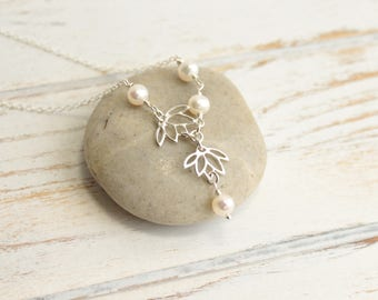 Sterling Silver Lotus Flowers and Freshwater Pearl Necklace... Weddings