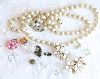 Vintage Jewelry Pieces  Mixed Lot Vintage Broken Jewelry Vintage Found Objects