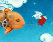 Flying Storybook Leading a Mechanical Fish Through the Clouds - fairytale art print