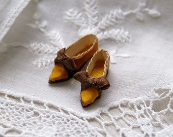 Miniature shoes - romantic flats -dark yellow silk with brown bow
