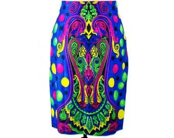 Vintage GIANNI VERSACE RUNWAY Moroccan Print High Waisted skirt  Jewel tone Vivid Colors Rare 1991 Size 42