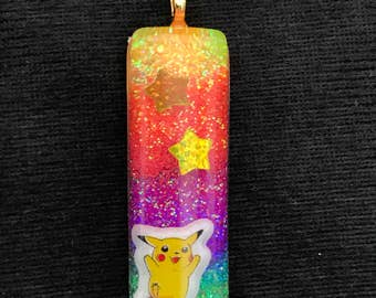 Rainbow pikachu charm necklace pokemon
