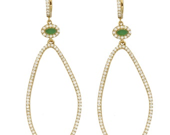 Oval Pave Drop Earrings - Gold Crystal Earrings - Long Dangle Earrings for Women - Cocktail Earrings