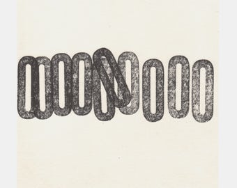 "SUMMER SALE - 40% OFF. use code { EOS40}.Monoprint. Black and White Letterpress Graphic Art: ""five"". Size 10 "" x 10"". unframed"