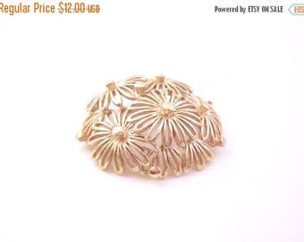ON SALE Monet  Domed Flower Brooch - Gold Plated Open Work Floral Pin
