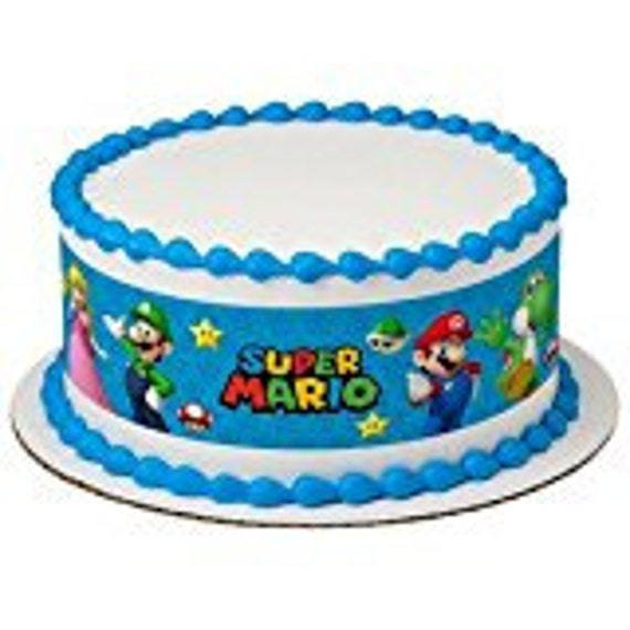 Super Mario Bros Game on Edible Icing Image Designer Strips  Birthday Wedding Baby Shower Party Toppers Favors Three Strip Set