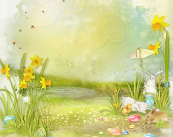 6x6' EASTER BACKDROP - Easter Spring Lansdscape - Watercolor Look -  Prop - Perfect for SPRING