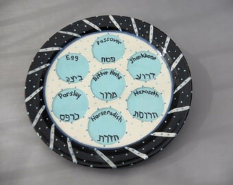 Passover Seder Plate  -  Earthenware Ceramic - Pottery- Hebrew and English
