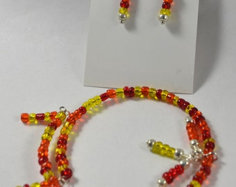 Bracelet & Earring Set:  Warm, Sunny, Dangly Elements