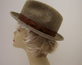 Bailey of Hollywood Wool Felt Light Brown Fedora Unisex Water Repellant Size Small